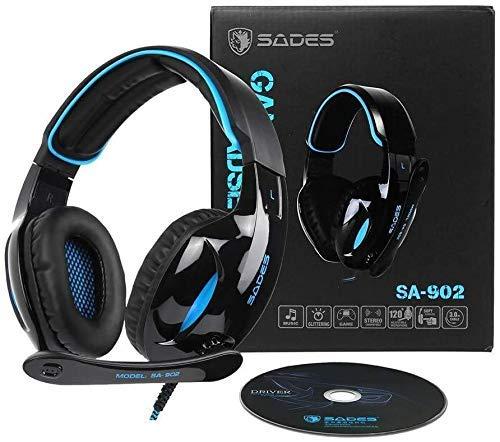 Audífonos 2019 con micrófono, auriculares inalámbricos con cancelación de ruido, tarjeta TF y radio FM, nombre del color: azul (color: azul) (color: negro) 1yess (color azul) xuwuhz