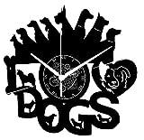 Instant Karma Clocks Orologio in Vinile da Parete I Love Dogs Cane Cani, Vintage, Handmade