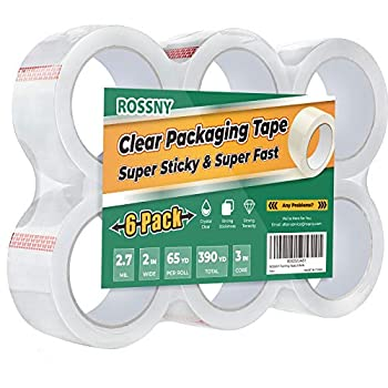 ROSSNY Packing Tape Heavy Duty Shipping Tape Crystal Clear Packaging Tape 2.7mil Thick 2 inches Wide 65 Yards Per Roll