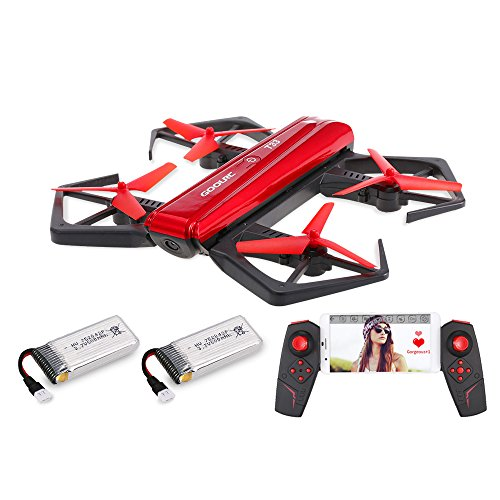 GoolRC T33 WiFi FPV 720P HD Camera Quadcopter Foldable G-Sensor Mini RC Selfie Pocket Drone Height Hold One 2 Batteries