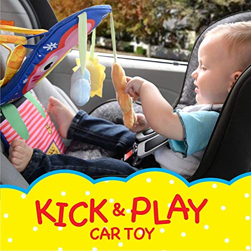 ToyVelt Car Seat Toys for Infants - Kick and Play Fun Hanging Rear Carseat Toy Super Soft, Safe with Music - Your Little One Will Be Thrilled While Driving for Baby Boy