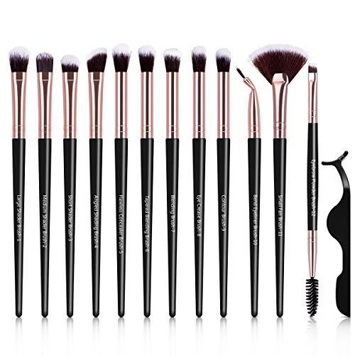 12 Stück Makeup Pinselset, Lidschattenpinsel Schminkpinsel Kosmetik Augenpinsel Set mit Wimpern...