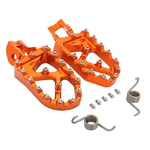 JFG RACING Pedales de pie ancho CNC para motocicleta K.T.M 85-500 SX XC-W EXC-F SX-F XC 15-20 TC85 TC125 FC250 FE350 TE150 FS450 TX300 FX350 16-20-Naranja