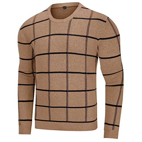 MAGCOMSEN Mens Pullovers Fall Sweater for Men with Fashion Pattern Pullover Crewneck Long Sleeve Sweaters Basic Casual Sweatshirts Camel