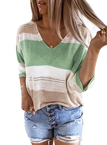 FIYOTE Damen Pullover Warm Strickpullover Rollkragen Streifenpullover Farbblock Sweatshirt Pullover Strick,9-grün,M