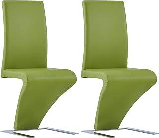 Tidyard 2 uds Sillas de Comedor Sillas Cocina Sillas Salon Forma de Zigzag Cuero sintético, Verde