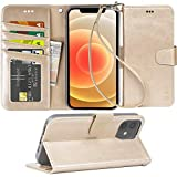 Arae Compatible with iPhone 12 Case and iPhone 12 Pro Case Wallet Flip Cover with Card Holder and Wrist Strap - Champagne Gold