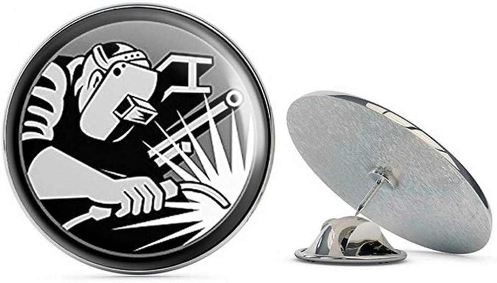 NYC Jewelers Round Hardhat Sized Welder Logo (Welding Weld) Metal 0.75