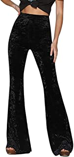 Ladies Casual Solid Color High Waist Wide Leg Pants Gold Velvet Flare Trousers Palazzo Pants