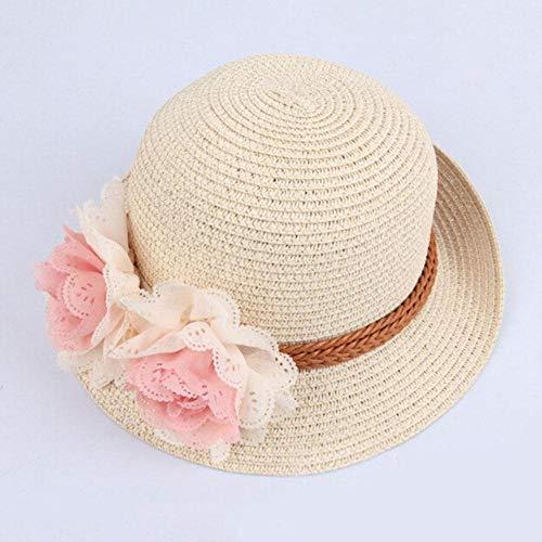 Mingi Chic Sommer Kinder Blumen Stroh Hüte Fedora Hut Kinder Visier Strand Sonne Baby Mädchen Sonnenhut Breite Krempe Für Mädchen, beige, 48-52cm