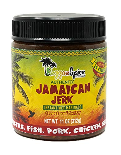 REGGAE SPICE Jamaican Jerk Seasoning Authentic Wet Rub Marinade Sauce - Perfect for Beef, Pork, Chicken, Seafood, and Vegetables - 11 OZ, Sweet or Spicy