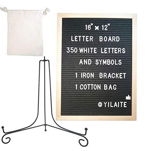 Tablero de fieltro para cartas, tablero de fieltro para cartas de 12 × 16 pulgadas, marco de madera, tablero de mensajes de bricolaje, memo, menú, notificación, tablero de notas de cocina (negro)
