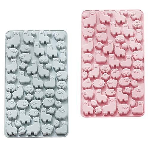 Cabilock Schokoladenform Silikon Fondant Formen 3D Alpaka Form DIY für Schokolade Süßigkeiten Seife Fudge Gelee Eiswürfel Kuchen Wiederverwendbar 2pcs Zufällige Farbe