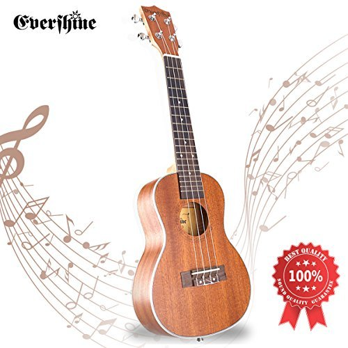 Evershine Mahogany Concert Ukulele for Beginner, 23 Inches Music Concert Smooth Sounds Ukulele, Four Professional Aquila Strings, for Kids and...