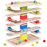 Migargle Marble Run ,Wooden Ball Ramp Track and Rolling Four-Tier Rolling Tower Wooden Toys for Kids 3+ Years