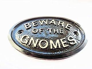 Artisan BEWARE GNOMES GARDEN PLAQUE