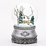Roman 5.5' Cottage with Tree Glitter Silver Base 100mm Dome Plays I'll Be Home for Christmas