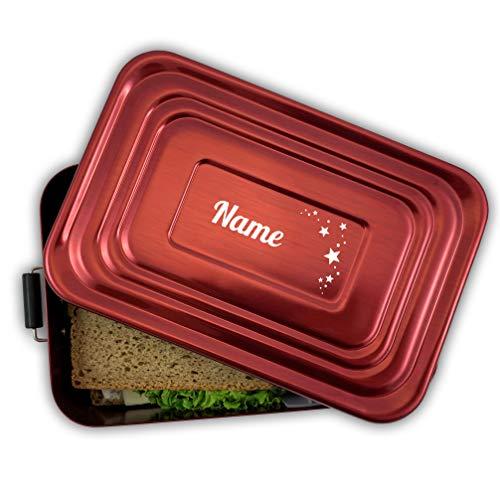 Werbetreff Gera Brotdose mit Name und Motiv, Aluminium Lunchbox rot mit Gravur Geschenk-Idee für Kinder zum Schulanfang, Schulstart, Schule, Kindergarten, Metall, Vesperdose Erwachsene