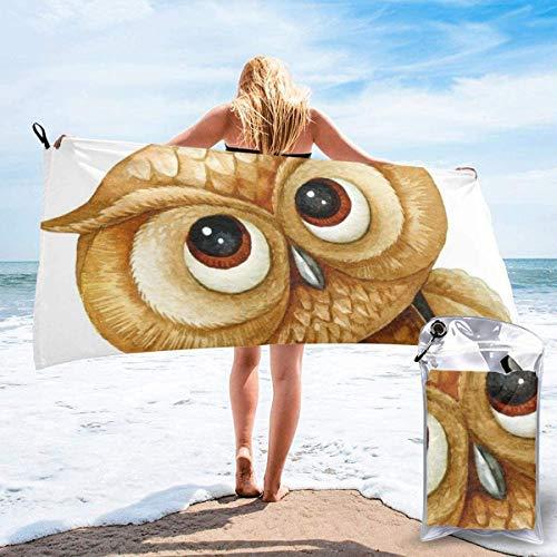 Bonita Toalla de Playa de búho de 27,5 'x 55',Manta de Toalla de Playa de Microfibra de Arena Ultra Suave,Absorbente de Agua portátil,sin Arena,de Microfibra múltiple