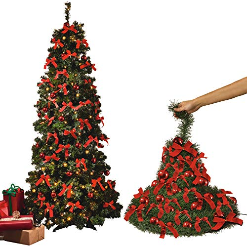 BLOOM Pre Lit Pop Up Christmas Tree 4ft 1.2m Artificial Xmas Tree Green Spruce Pine With Decorations Bows Baubles 50 Warm White LED Lights Foldable Folding Folds Flat Festive Home Decoration