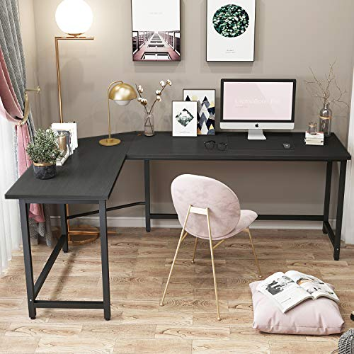 GREATMEET L Shaped Desk,Corner Cumputer Desk Gaming Table with Round Corner, Study Writing Wooden Table for Home and Office,Black Color