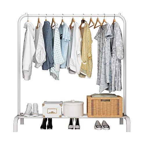 UDEAR Kleiderständer Freistehender Kleiderbügel Multifunktionaler praktischer einpoliger Schlafzimmer-Kleiderständer, Weiß