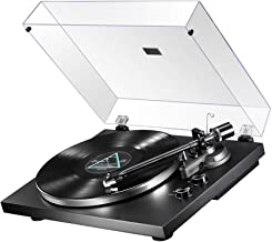 MUIFA Bluetooth Output Turntable, Belt Driven Hi-Fi Wireless Stereo Record Player w/ MM Cartridge, Built-in Preamp, Convert Vinyl to Digital, 33-1/3 and 45 RPM