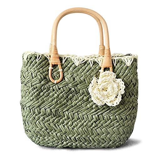 QTKJ Cute Women Summer Straw Purse Bag Hand-woven Crochet Flower Boho Tote Bag with Wood Handle Beach Handbags (Army Green)