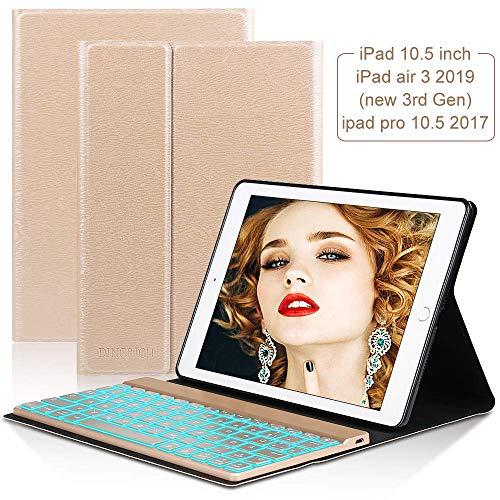 D DINGRICH Tastatur Hülle Kompatibel mit New iPad Air 3 2019, iPad Pro 10.5 inch 2017-7 Farben Hinterleuchtet- Wireless Tastatur- QWERTZ- Magnetischen Schlaf/Wach, iPad 10.5 Inch Hülle mit Tastatur