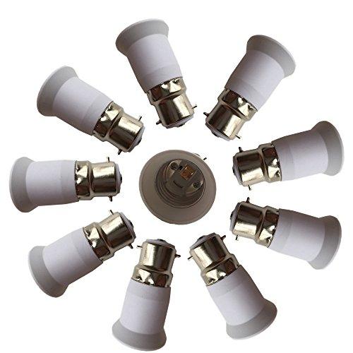 dzydzr 10Pc B22a E27E26Luz ockel adaptador convertidor Base, cabe LED/CFL Bombillas, resistente al calor, anti de brennenstuhl, Quemaduras