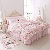 LELVA Romantic Roses Print Duvet Cover Set with Bed Skirt Pink Lace Ruffle Floral Shabby Chic Bedding Sets King 4 Piece