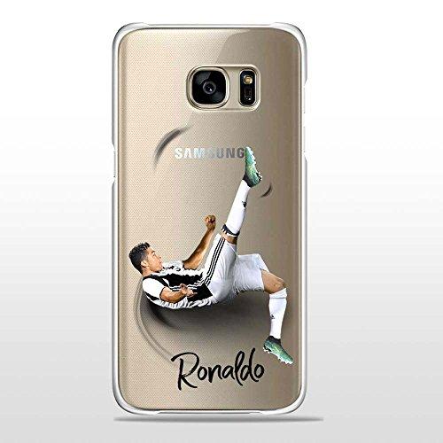 S7Edge Cover TPU Gel Trasparente Morbida Custodia Protettiva, Soccer Collection, CR7 Juve, Galaxy S7 Edge