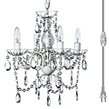 "Plug-in 4 Light Crystal White Hanging Swag Chandelier H17.5""xW15"", White Metal Frame with Clear Glass Stem and Clear Acrylic Crystals & Beads That Sparkle Just Like Glass"