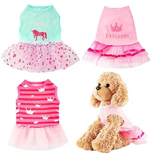 3 Pieces Princess Dog Dress Cute Puppy Tutu Dress Skirt Summer Soft Breathable Dog Apparel Pet Clothes for Small and Medium Dog Cat