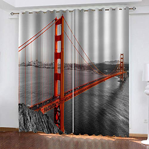 WUBMQ Blackout Curtains For Bedroom Living Room Super Soft Thermal Insulated Noise Reducing Eyelet Curtains 220X215Cm 3D Red Golden Gate Bridge Printing Kids Nursery Window Treatments 2 Panels