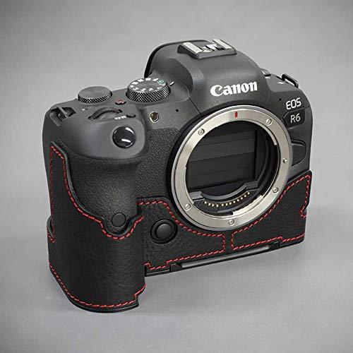 【日本正規販売店】 LIM'S Canon EOS R6 専用 イタリアンレザー カメラケース Black Red stitch ブラック レッド ステッチ メタルプレート 高級 本革 おしゃれ かっこいい CN-EOSR6BK リムズ