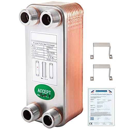 VEVOR Scambiatore di Calore 20 Piastre Scambiatore di Calore per Riscaldamento EATB12 Scambiatore di Calore Piastre in Acciaio