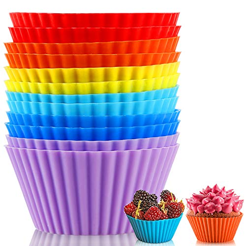 Silicone Baking Cups Reusable Muffin Liners, BPA Free Non-stick Cake Molds Set, Silicone Cup Liner Muffin Cupcake Holders Cake Baking Molds (12 PCS)
