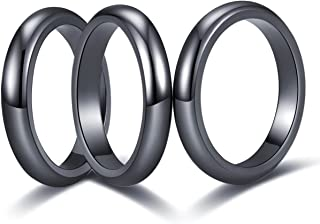 JIAOGE 3Pcs Flat Hematite Magnetic Rings for Women Men Unisex Anxiety Balance Root Chakra Morchic Hematite Stone Band Ring...