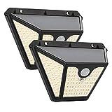 Luz Solar Exterior 102 LED x2, Maxsure, Foco Solar con Sensor de Movimiento, Lámpara Solar Exterior, 2000mAh, 1500LM con 3 Modos de Iluminación, Luz Solar de Pared IP65 Impermeable