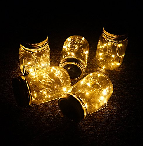 Aobik Solar Mason Jar Lid Lights, 6 Pack 30 Led String Fairy Star Firefly Jar Lids Lights,6 Hangers Included(Jars Not Included), Best for Mason Jar Decor,Patio Garden Decor Solar Laterns Table Lights