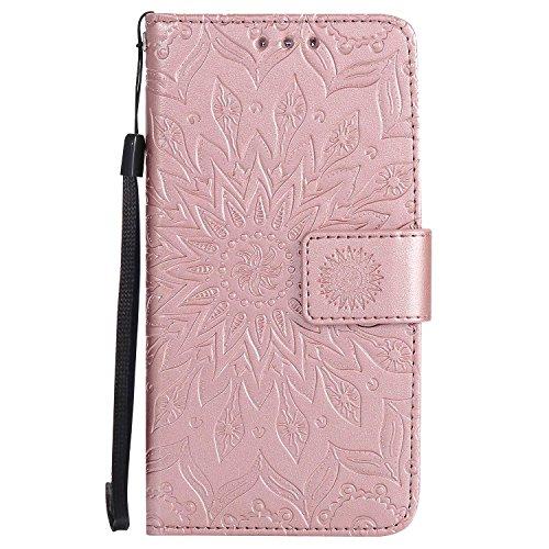 LAFCH Handyhülle für Galaxy A5 2015 Hülle, Premium Mandala Geprägtes Muster PU Leder Flip Schutzhülle für Samsung Galaxy A5 2015, mit Karteneinschub, Rose Gold