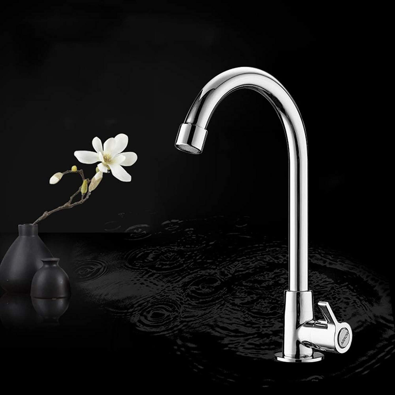 WOOMD Kitchen Sink Single Cold Water Long Washbasin Faucet Faucet Modern Commercial Lead-free Modern Stainless Steel One-handle Kitchen Faucet Kitchen Sink Faucet Kitchen Faucet
