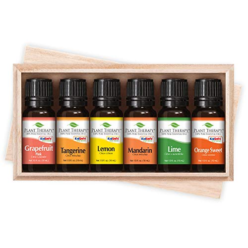 Plant Therapy Essential Oils Fruits Set | Grapefruit, Tangerine, Lemon, Mandarin, Lime, Orange Sweet In A Wooden Box | 100% Pure, Undiluted, Natural Aromatherapy, Therapeutic Grade | 10 mL (⅓ oz)
