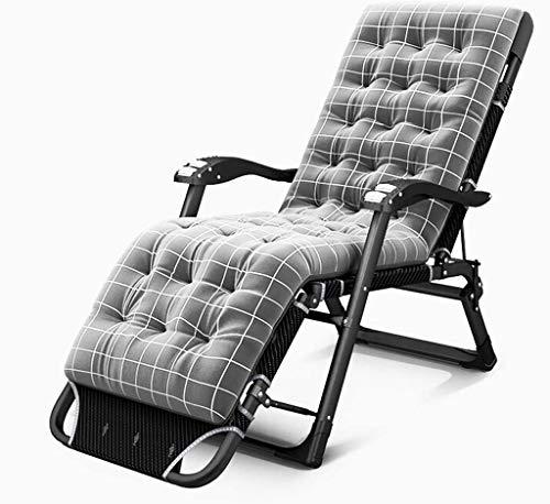 LAMTON Tumbona Plegable portátil multifunción Cama de la Siesta Fuera sillas Ajustables Playa for Acampar, con cojín extraíble (Color : Gris)