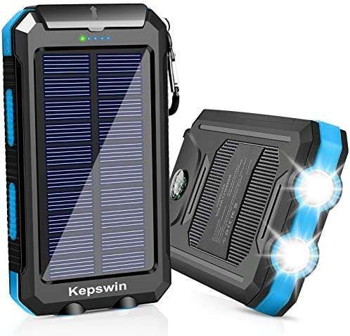 Solar Charger 20000mAh, Portable Solar Power Bank Waterproof Solar Phone Chargers Compatible with All Smartphone External Battery Pack with 2 USB Ports/LED Flashlights for Outdoor Camping(Black/Blue)