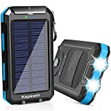 Solar Charger 20000mAh, Portable Solar Power Bank Waterproof Solar Phone Chargers Compatible with All Smartphone External Battery...