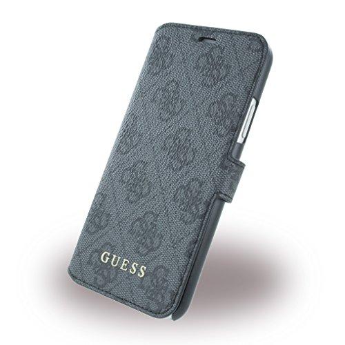 Guess Handyhülle Smartphone Schutzhülle Hülle Cover Case Schale Tasche Magnetclip 4G Apple iPhone X/XS, Grau