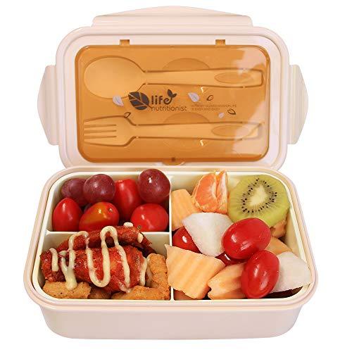 AUPLAY Kinder Lunchbox Auslaufsicher, Bento Box mit 3 Fächern und Besteck, BPA-Freier Brotdose für Schule & Reisen, Geeignet für Mikrowellen, Spülmaschinen und Gefrierschrank(Beige)