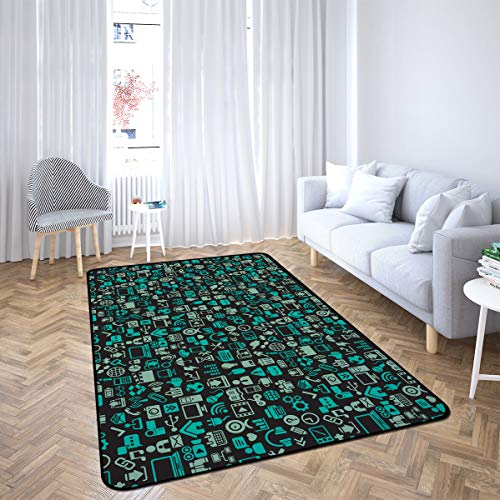 Icons Area Rug Rugs for Living Room Bedroom 4'x6'
